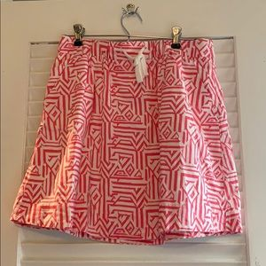 JCrew Outlet pink and white skirt.